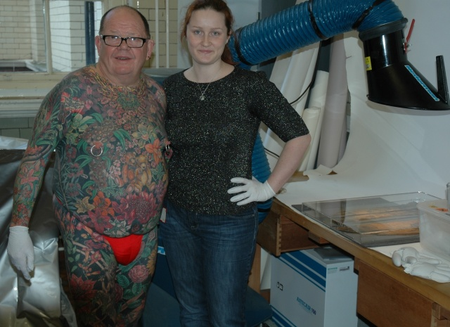 With Geoff Ostling, the 'tattooed bear', at the Science Museum archives in Kensington Olympia, London. January 2012.