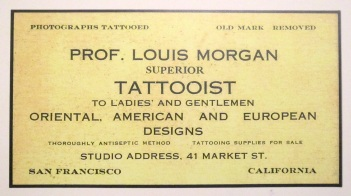 Louis Morgan's business card, c.1912. Courtesy of the Tattoo Archive, Berkeley California.