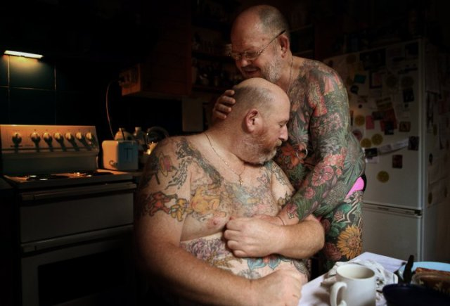 Geoff and partner, photograph by Jonathan May. Shortlisted for the Taylor Wessing Photographic Portrait Prize, 2011.