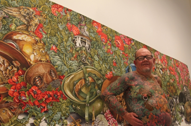 A body of work: Geoff pictured with one of eX de Medici's paintings at the National Gallery of Australia. Photograph courtesy of Jim Anderson.